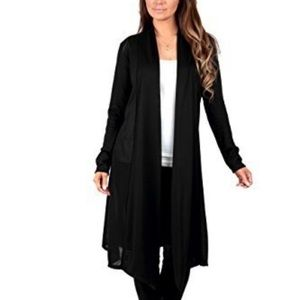 Rags & Couture Long Black Duster Cardigan Sweater